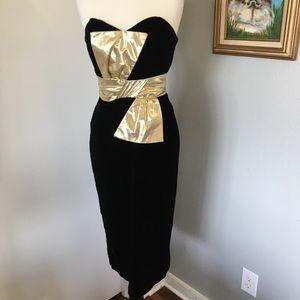 1 JOSEPH LARA Velvet Bow Evening Gown 80s
